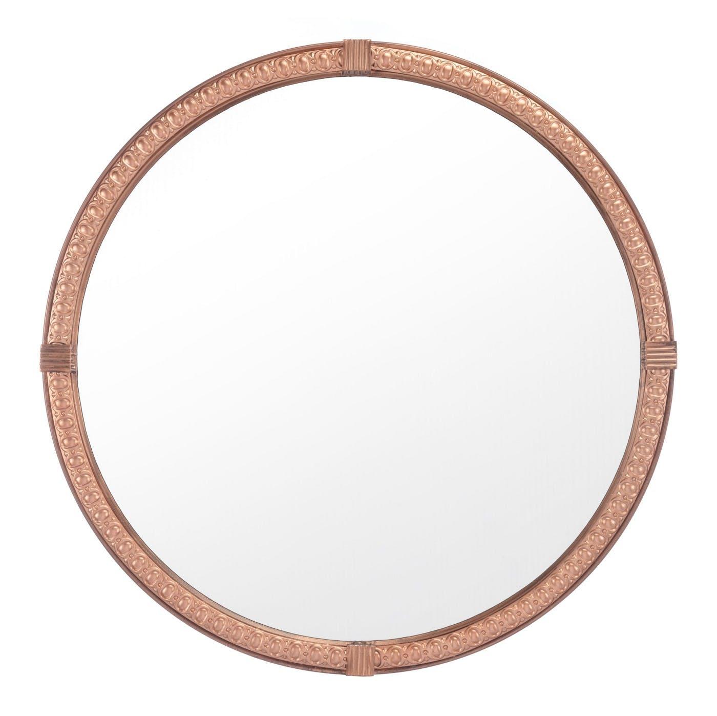Vintage Brown Round Mirror