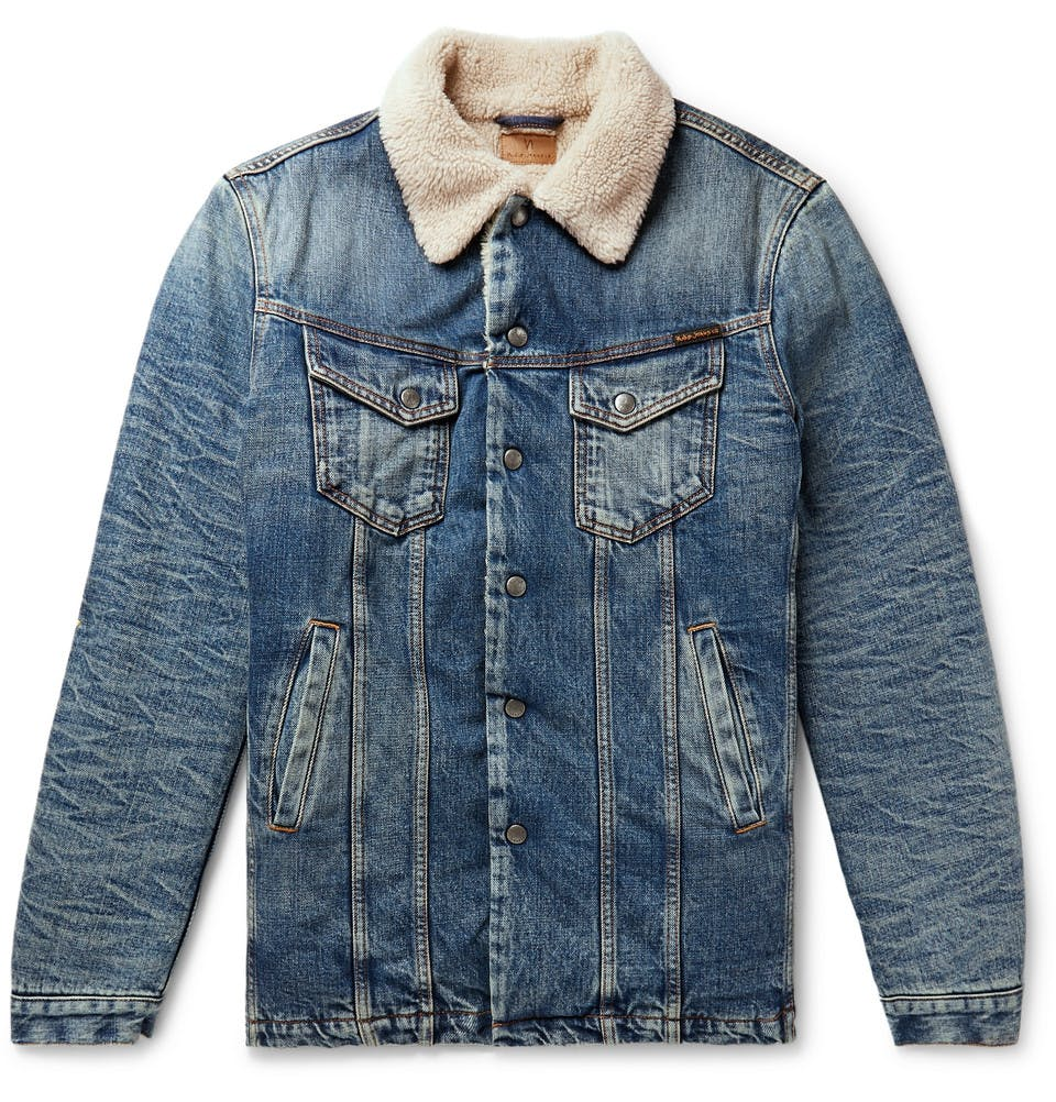 nudie, jean jacket, denim jacket, sherpa jacket, shearling jacket