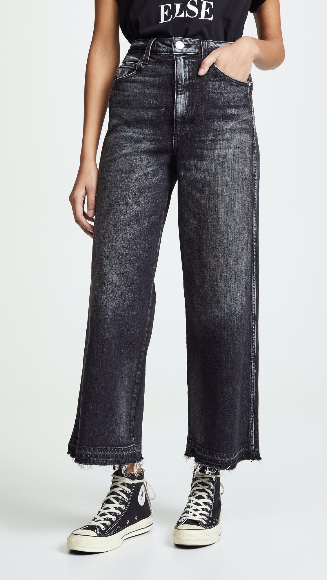 amo denim, amo jeans, cropped jeans, wide leg jeans, faded black denim, goucho jeans
