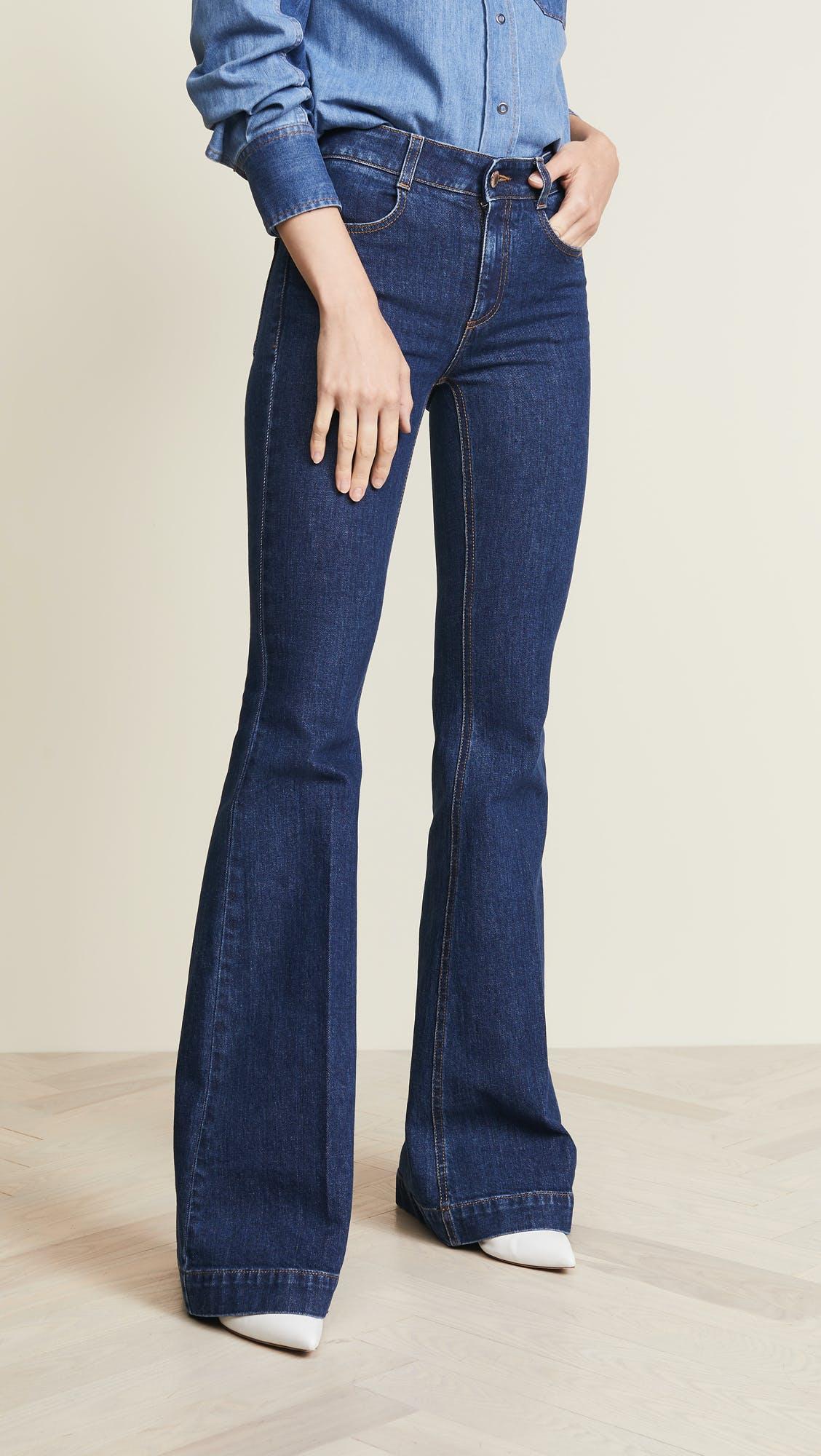 stella mccartney, flared jeans, wide leg jeans, slim flares, stonewashed denim