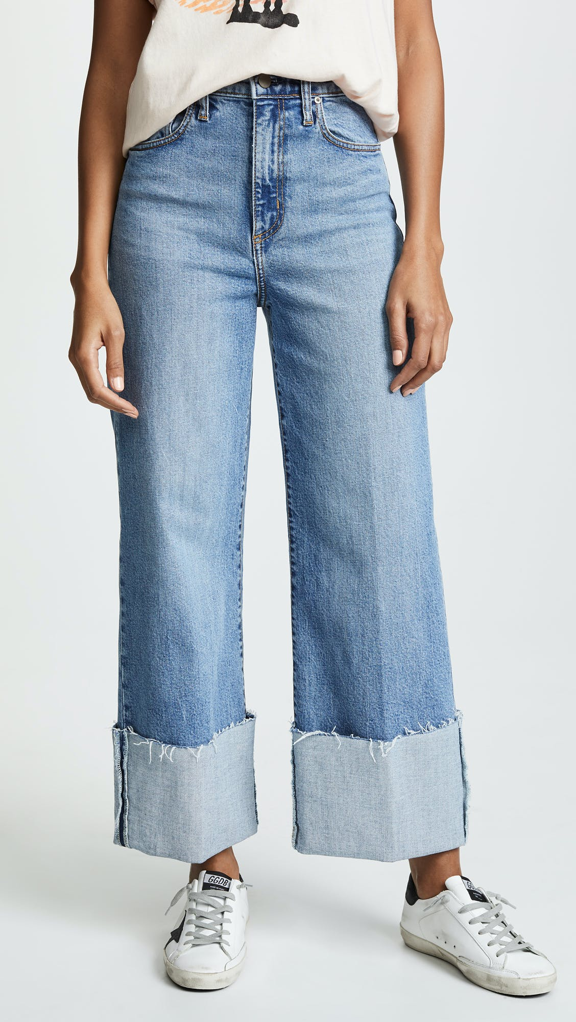 nobody jeans, cuffed jeans, high rise jeans, wide leg jeans, high waisted jeans, light washed denim