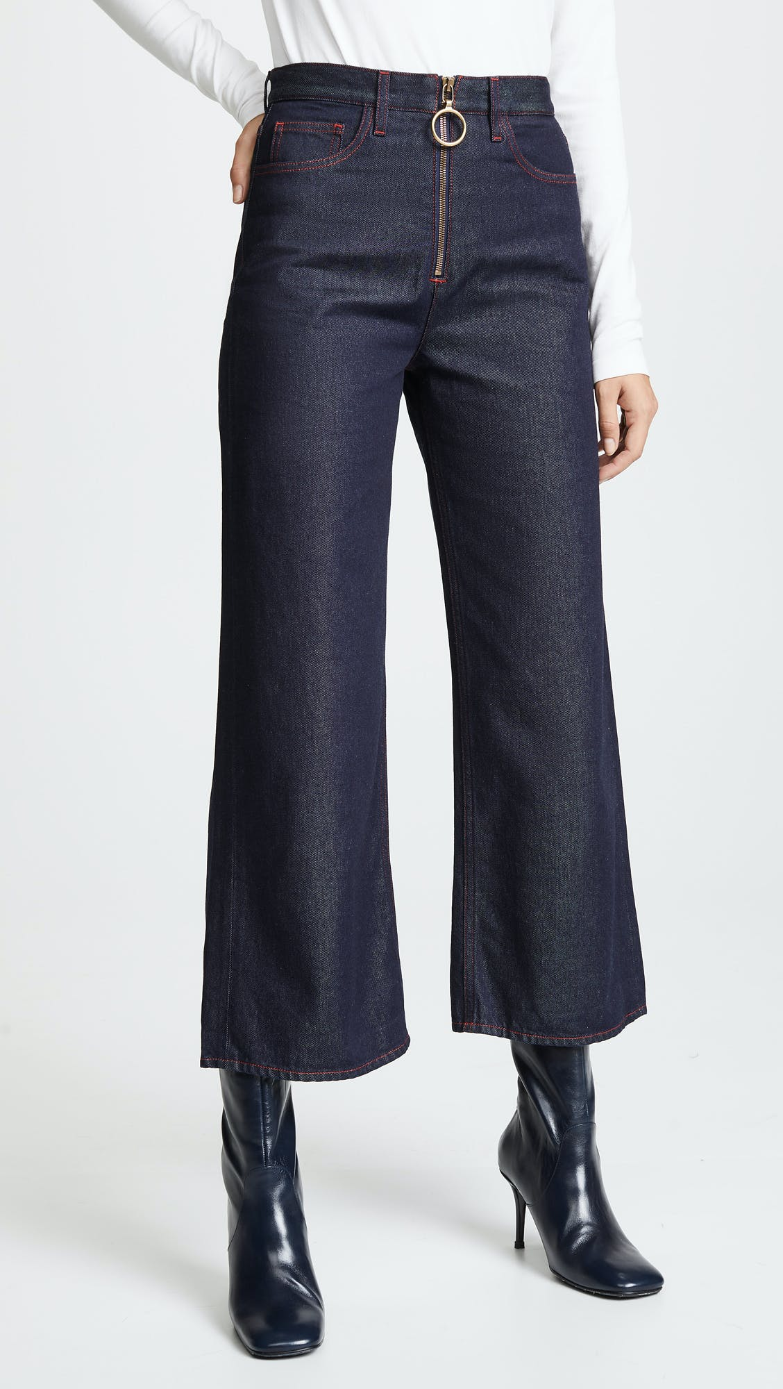 mih jeans, high rise jeans, wide leg jeans, zipper jeans, contrast stitching, cropped jeans