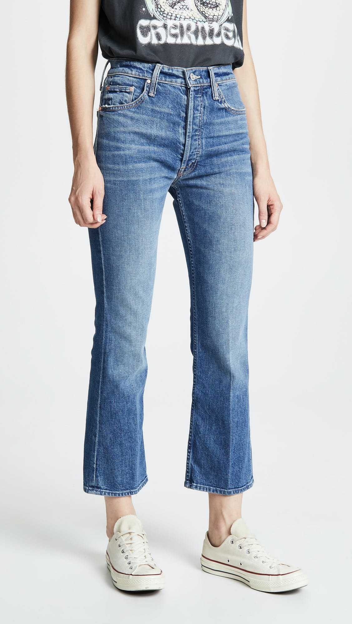 mother jeans, the tripper, cropped jeans, cropped flare, kick flare, high rise jeans, button-fly, high waisted jeans