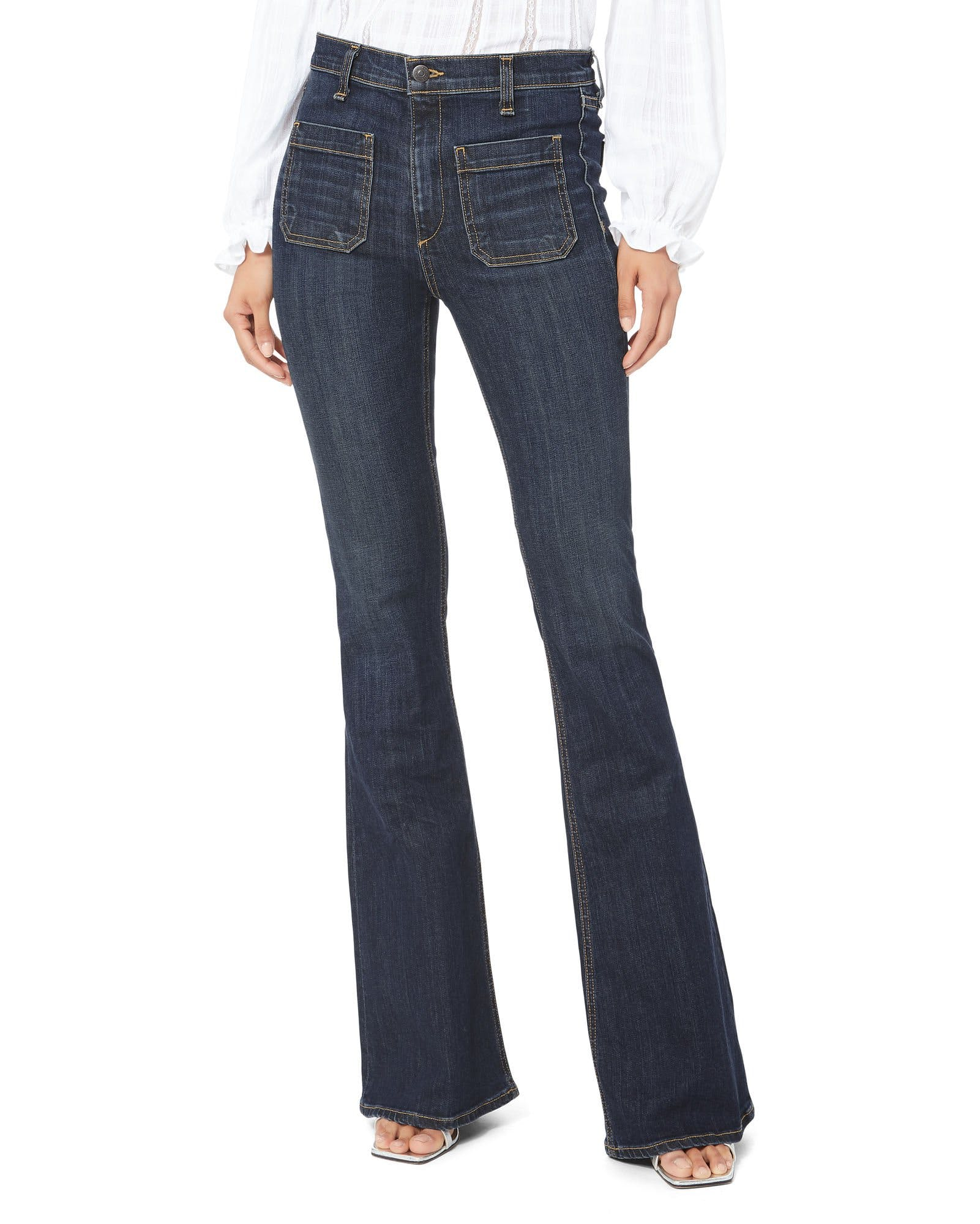 veronica beard, veronica beard jeans, high rise jeans, flares, flared jeans, sailor jeans, patch pocket, front pocket