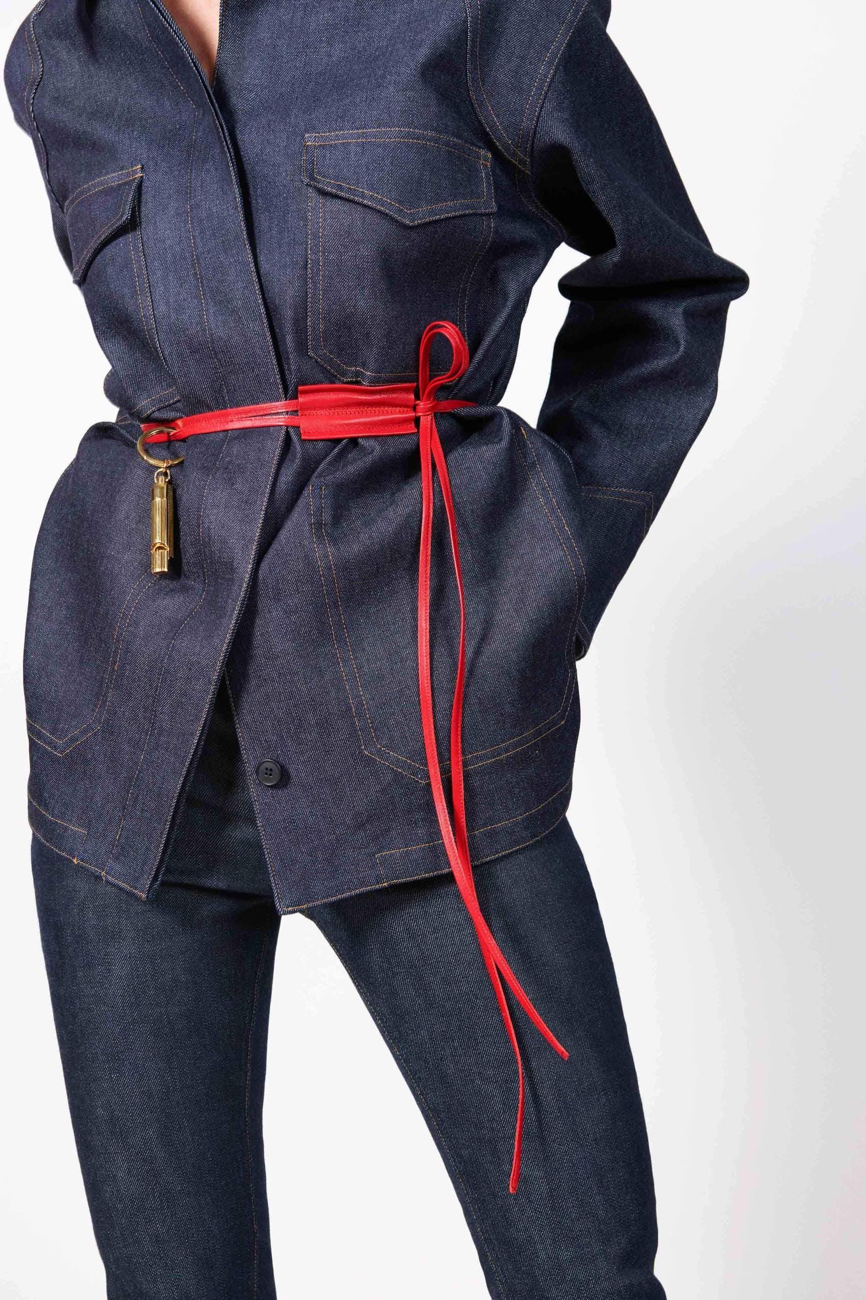 victoria beckham, victoria beckham denim, victoria beckham jeans, wrap belt, denim jacket, raw denim, red belt