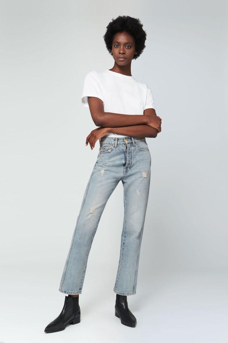 victoria beckham jeans, victoria beckham denim, straight leg jeans, cropped jeans, high rise jeans