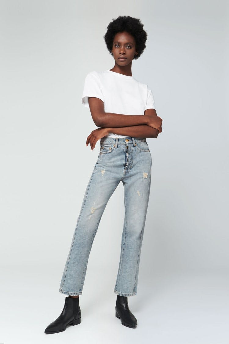 victoria beckham jeans, victoria beckham denim, straight leg jeans, cropped jeans, high rise jeans