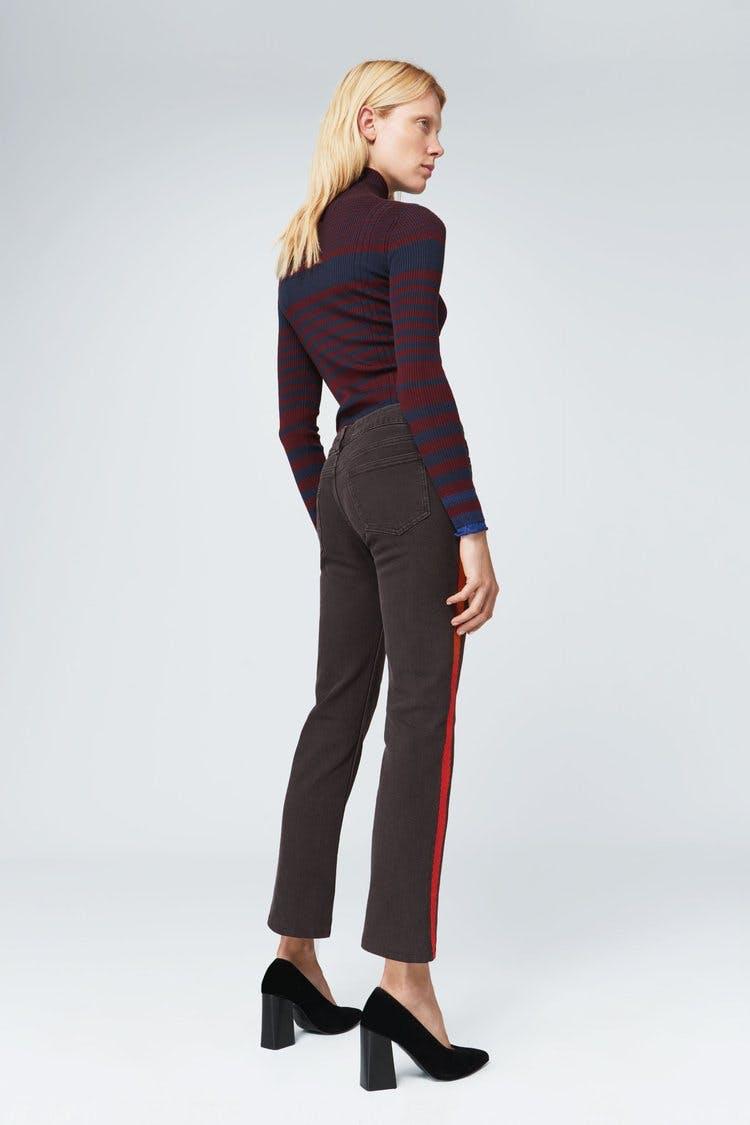 victoria beckham jeans, victoria beckham denim, embroidered jeans, trackpant jeans, side stripe, cropped jeans