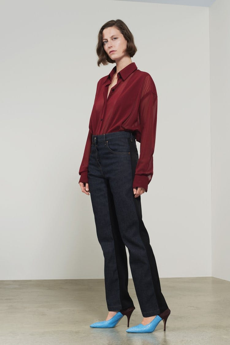 victoria beckham jeans, victoria beckham denim, panelled denim, satin back, straight leg jeans, slouchy jeans
