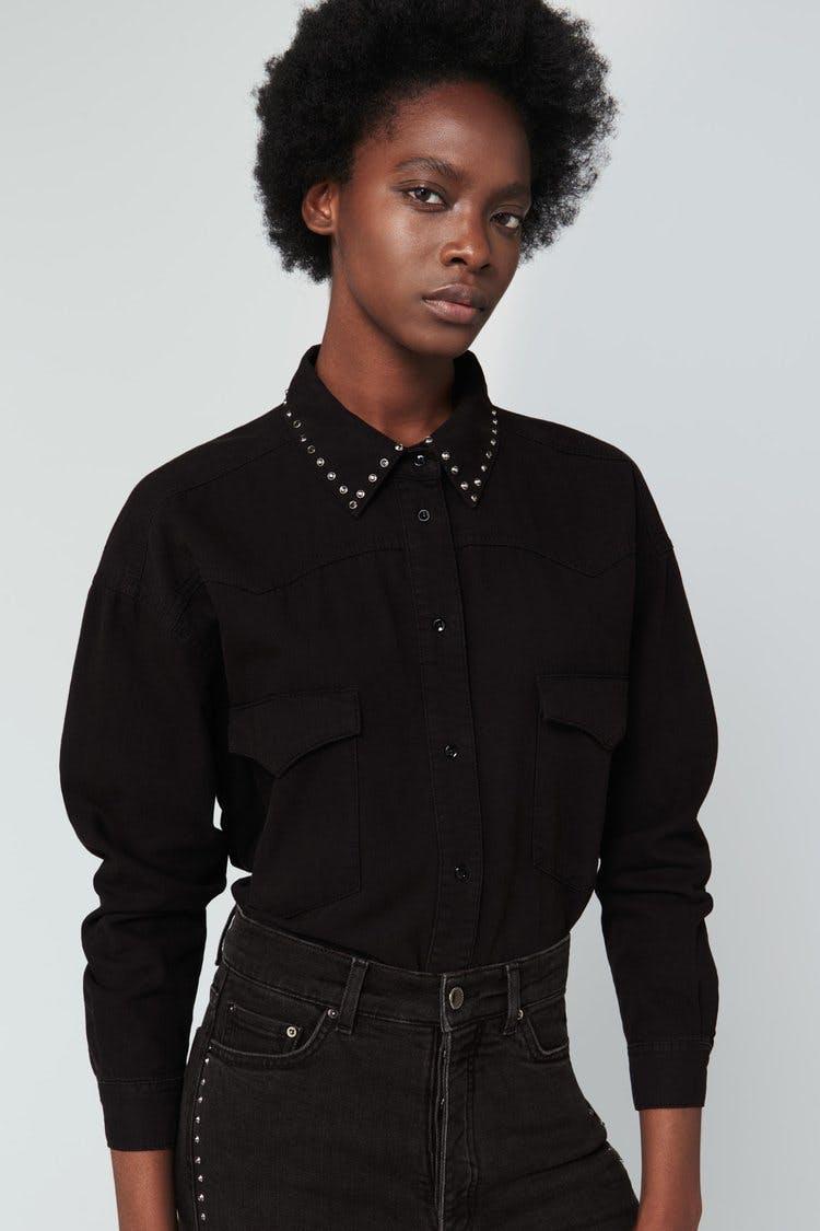victoria beckham jeans, victoria beckham denim, denim shirt, studded denim, studded collar, denim shirt, jean shirt