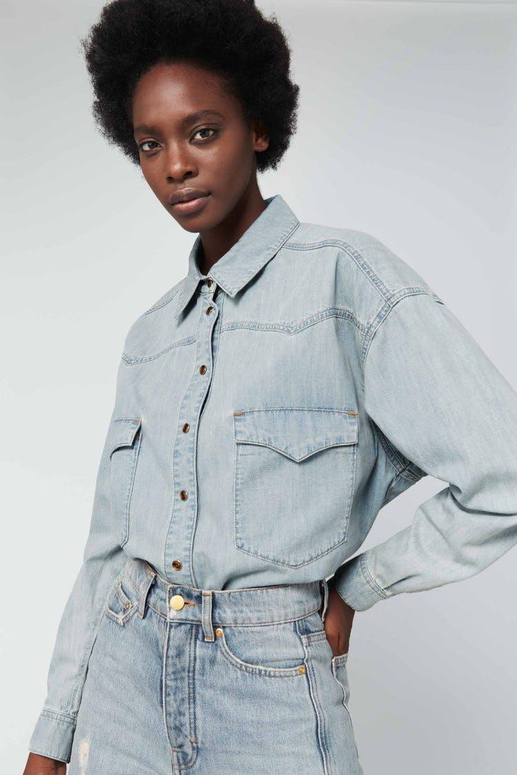victoria beckham jeans, victoria beckham denim, denim shirt, bleached denim, oversize denim shirt, western shirt