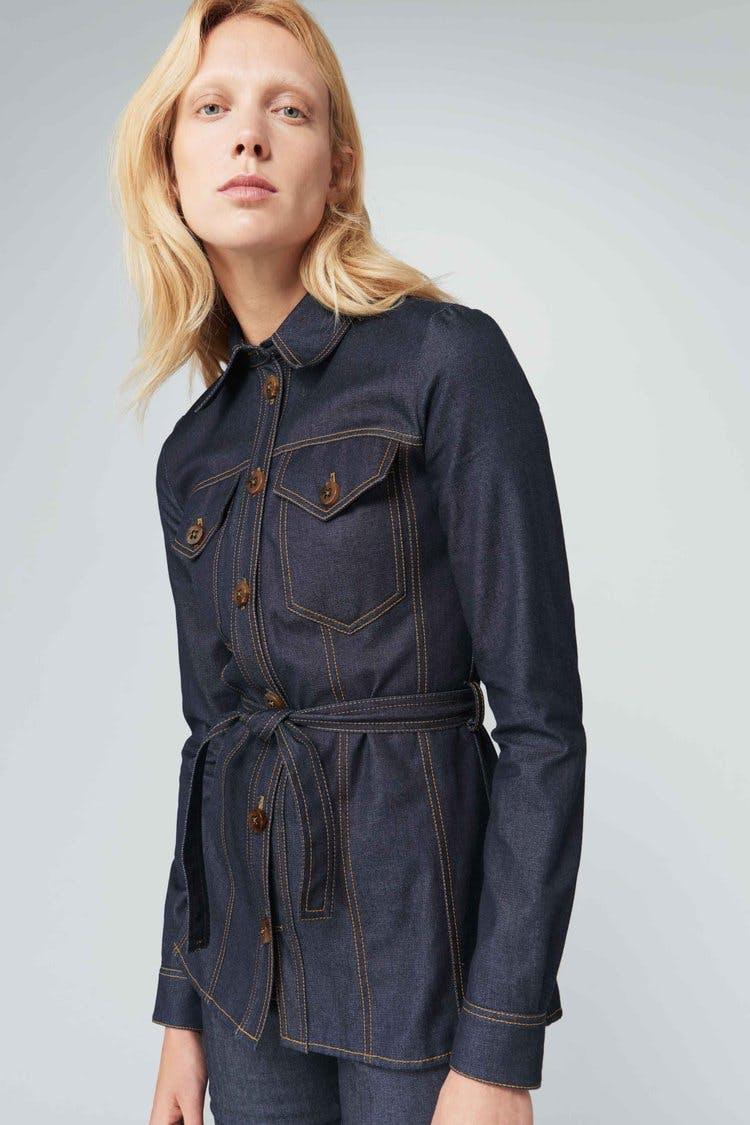 victoria beckham jeans, victoria beckham denim, slim denim shirt, denim shirt, jean shirt, panel shirt, belted shirt, shirt jacket