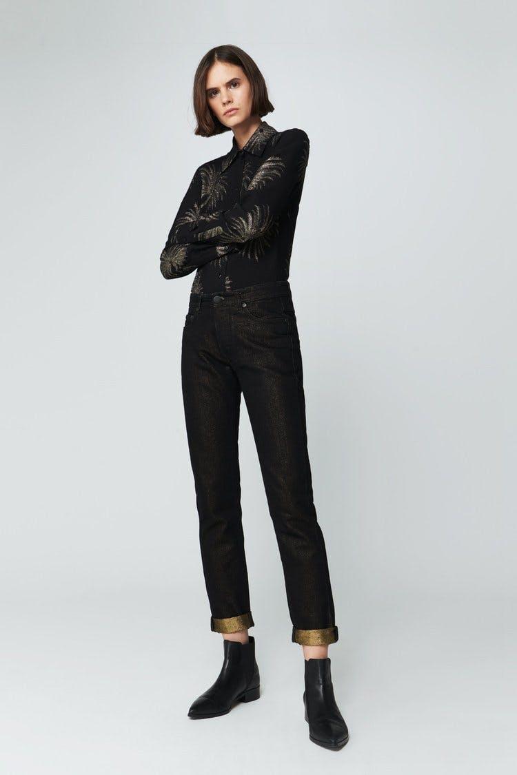 victoria beckham jeans, victoria beckham denim, gold denim, black denim, cuffed jeans, slouchy jeans, straight jeans