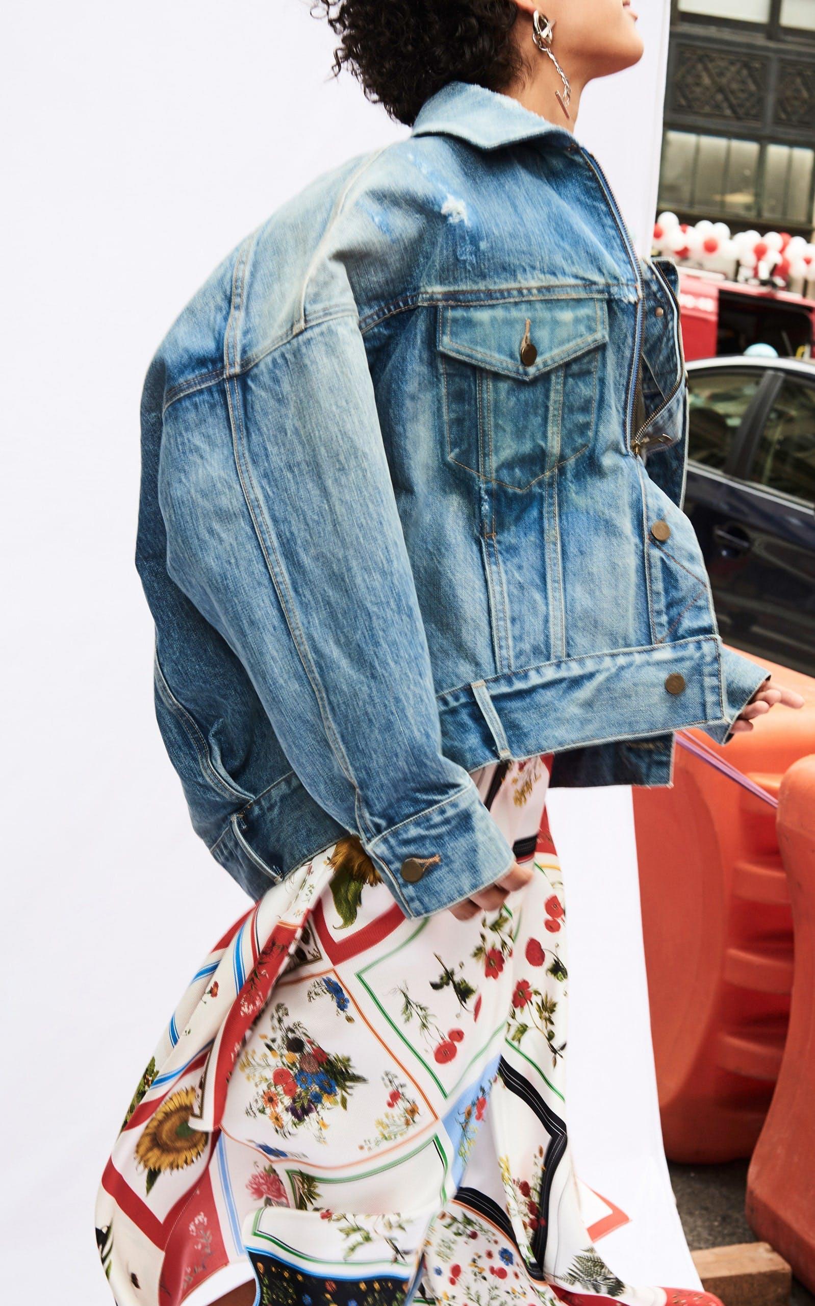 denim jacket, monse, moda operandi, cocoon denim jacket, blue denim, oversized jacket
