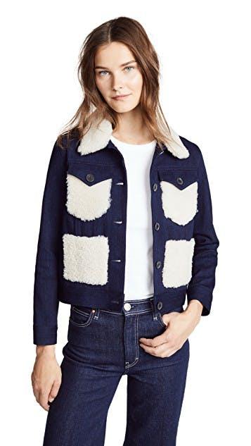 adam lippes, shearling, colorblock, flight jacket, denim jacket, jean jacket, corded denim