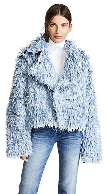 ksenia schnaider, denim fur, frayed denim, denim jacket, jean jacket, oversized denim jacket