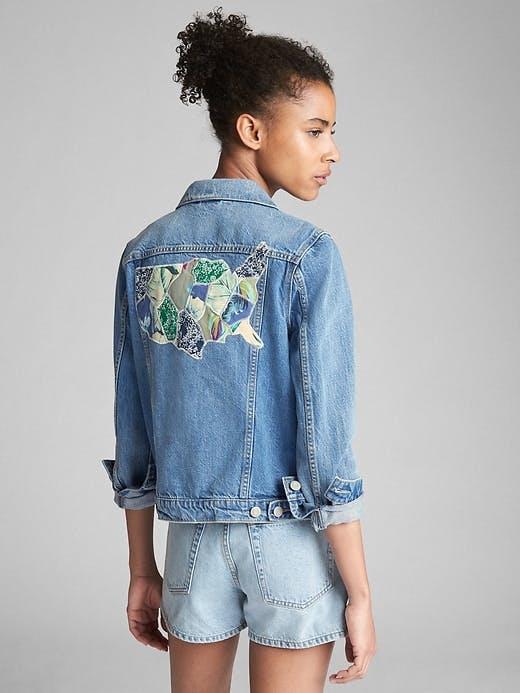 gap, jean jacket, denim jacket, shrunken denim jacket, cropped denim jacket, patchwork, repaired denim
