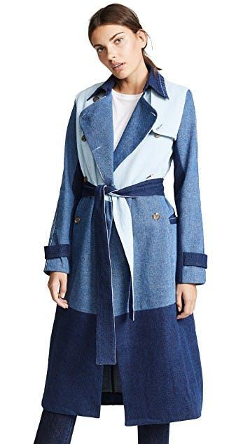 ksenia schnaider, denim jacket, jean jacket, denim coat, patchwork denim, two tone denim, trench coat