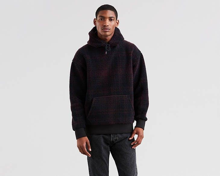 justin timberlake jeans, levi's, levi's x justin timberlake, fresh leaves collection, plaid, hoodie, sherpa hoodie, sherpa