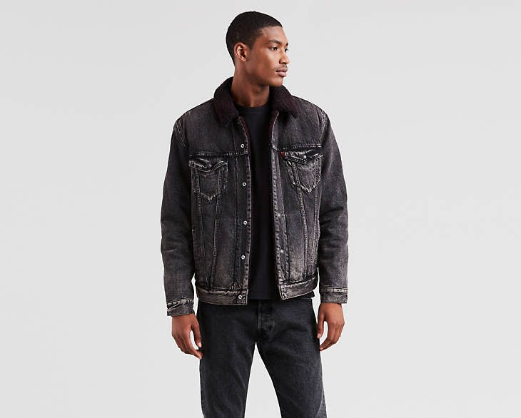 justin timberlake jeans, levi's, levi's x justin timberlake, fresh leaves collection, sherpa jacket, stonewashed, black denim, trucker jacket