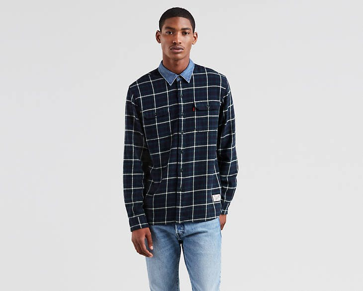 justin timberlake jeans, levi's, levi's x justin timberlake, fresh leaves collection, plaid shirt, denim collar