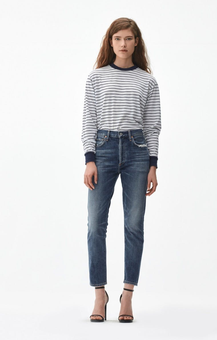 citizens of humanity, jeans, denim, classic jeans, liya jeans, cropped jeans, original fit, distressed jeans, blue jeans