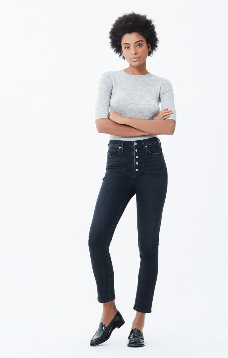 citizens of humanity, jeans, denim, high rise jeans, high waisted denim, cropped jeans, exposed button fly, button fly jeans, washed black denim, vintage denim, slim jeans