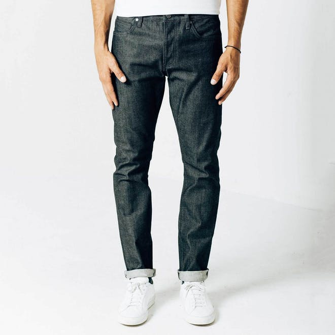 Mens Slim Jeans In Dark Wash Resin Grey Stitch