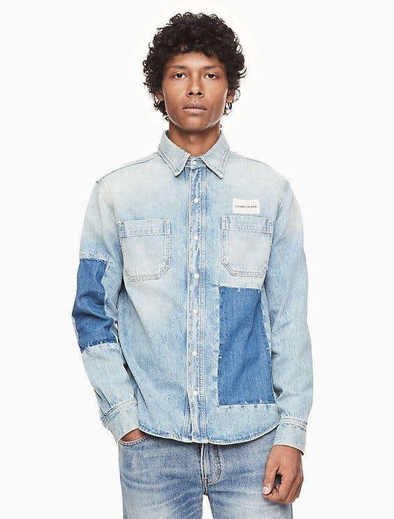Patched Denim Utility Shirt
