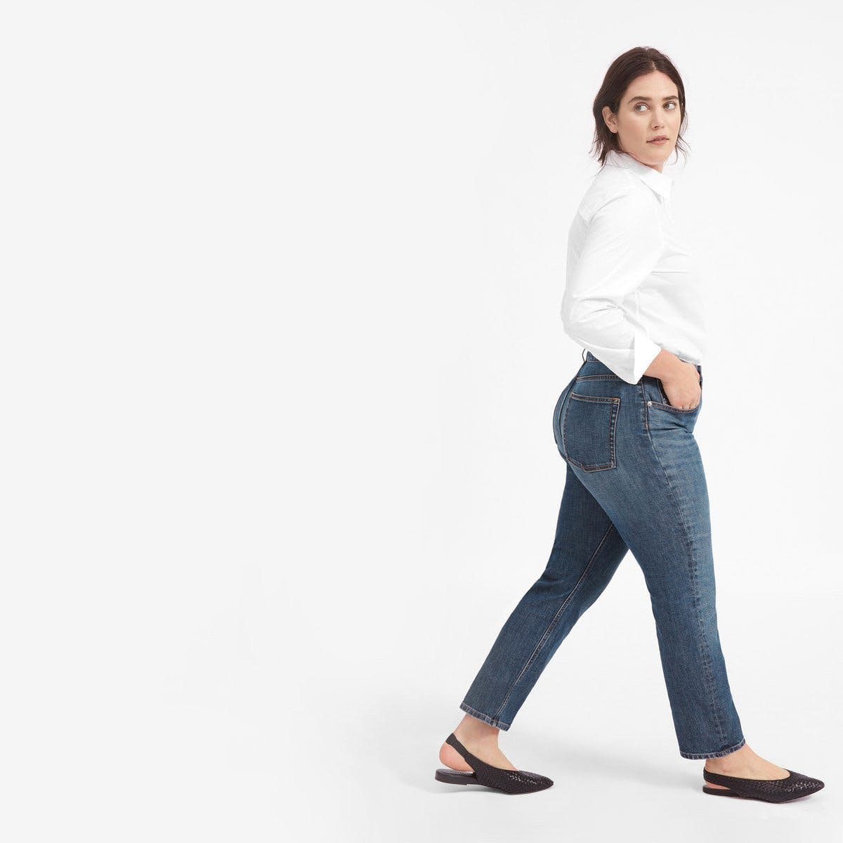 everlane, everlane jeans, everlane denim, japanese denim, the cheeky jeans, straight leg jeans, high rise jeans, tilted jeans, medium dark denim, cropped jeans, denimblog, denim blog
