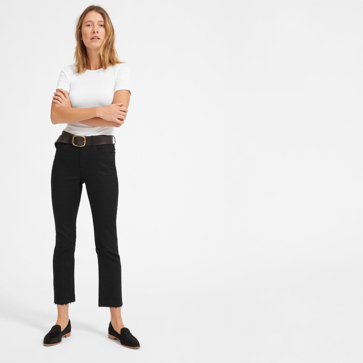 everlane, everlane jeans, everlane denim, japanese denim, kick flare jeans, cropped jeans, frayed jeans, raw hem jeans, black jeans, denimblog, denim blog