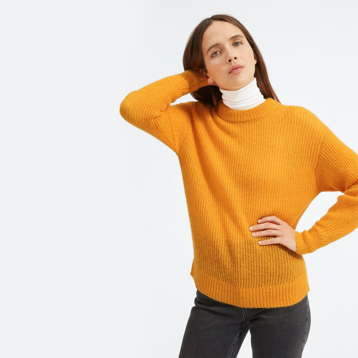 everlane, everlane knit, waffle knit sweater, knit sweater, trutleneck, sweater, orange knit sweater, denimblog, denim blog