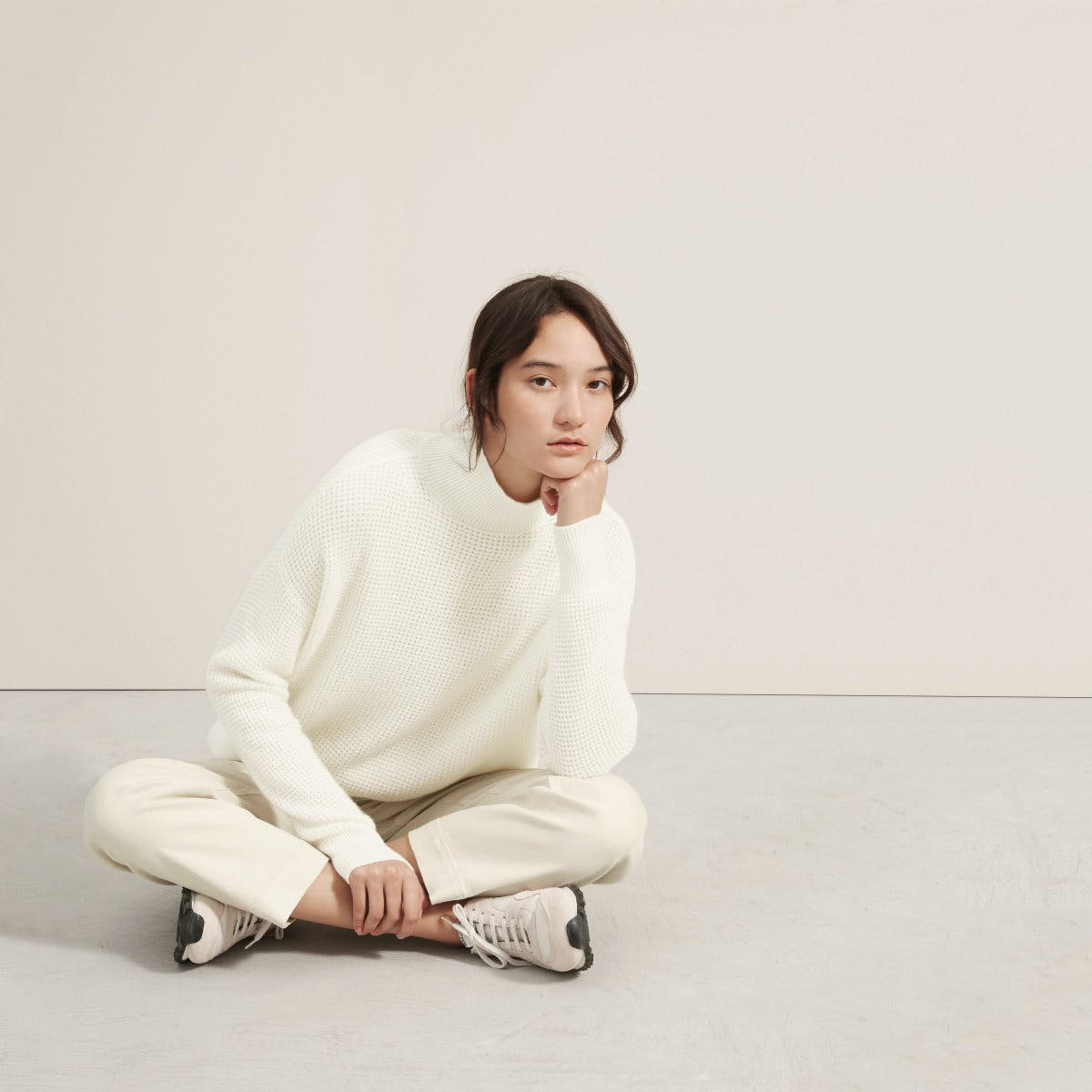 everlane, everlane knit, waffle knit sweater, knit sweater, trutleneck, sweater, white knit sweater, denimblog, denim blog