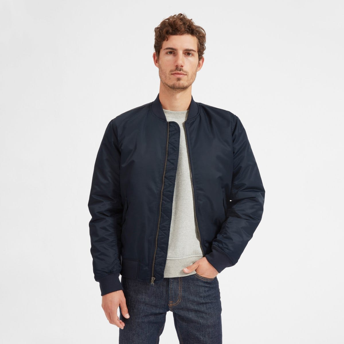 everlane, everlane jacket, bomber jacket, nylon jacket, flight jacket, navy jacket, denimblog, denim blog