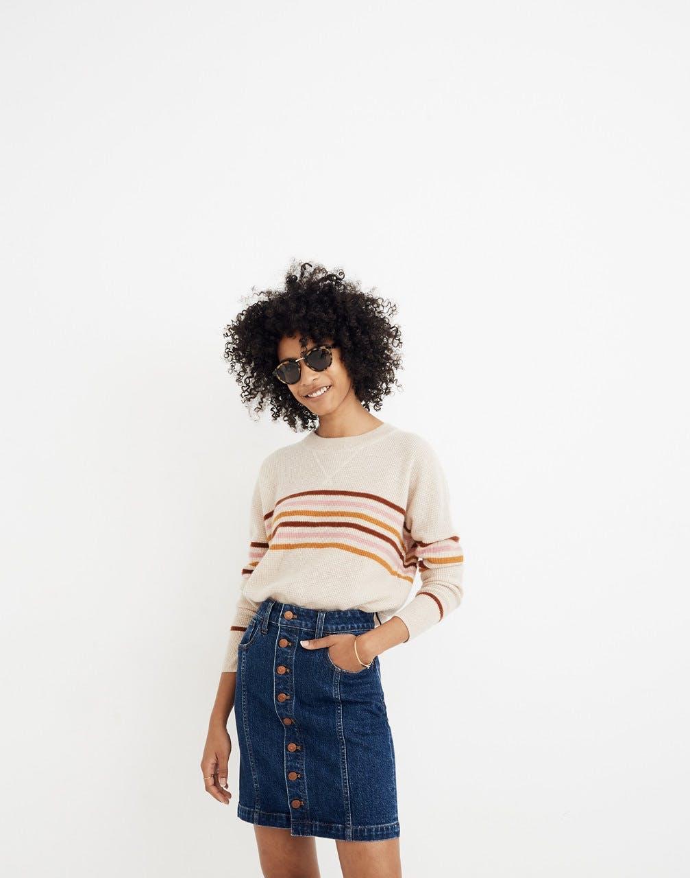 The Stretch Denim Straight Mini Skirt