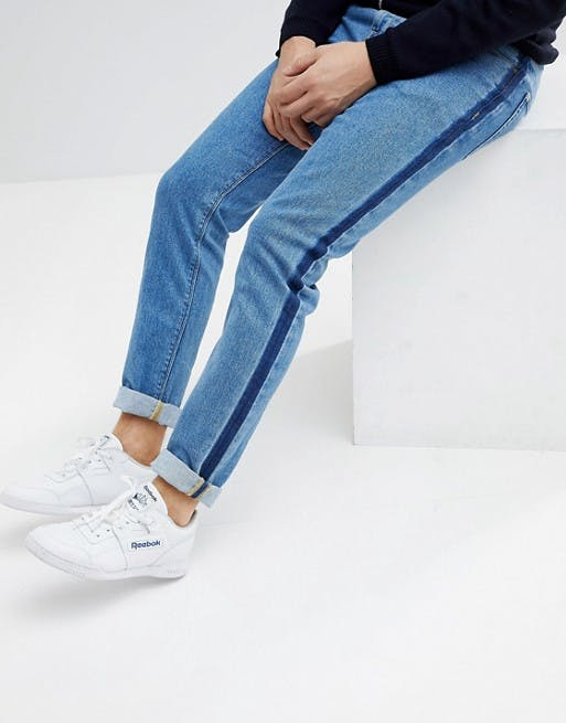 skinny jeans in mid wash blue with side stripe
