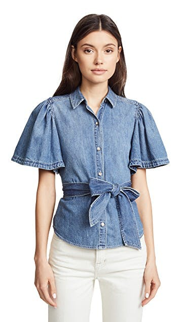 Short Sleeve Denim Top with Tie