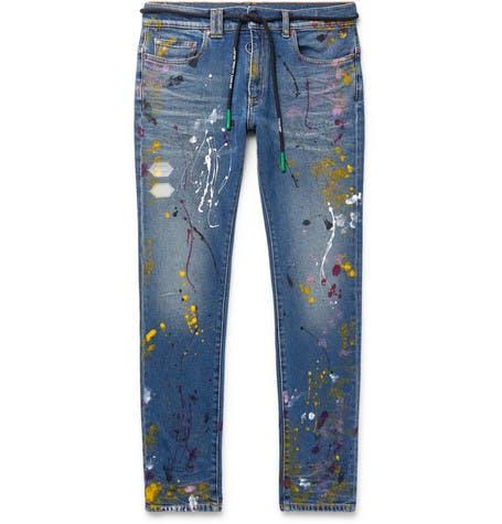 Skinny Paint Splattered Jeans