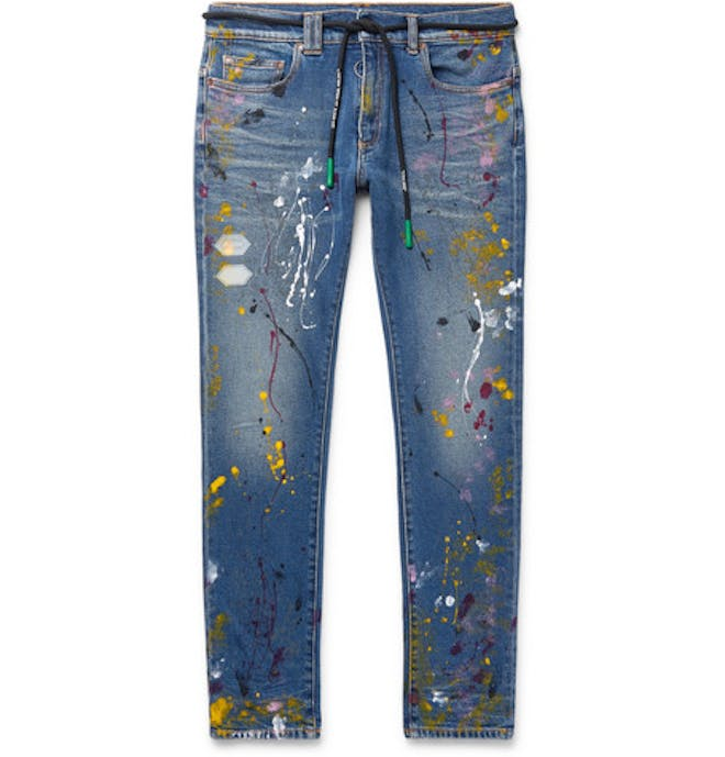 Skinny Paint Splattered Jeans