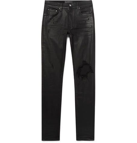 Skinny Fit Waxed Distressed Jeans