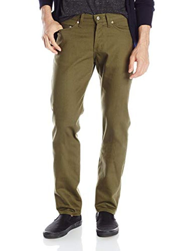Men's Weird Guy In Selvedge Khaki Green Chino Jean