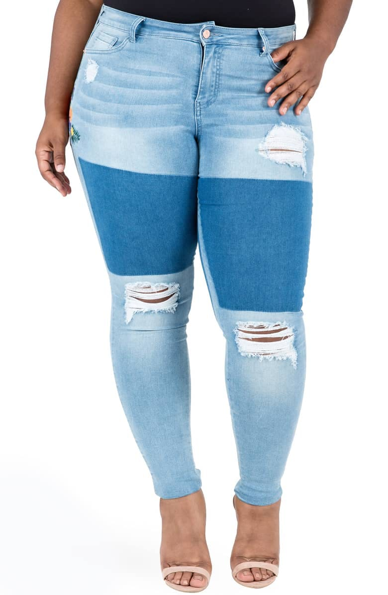 Madison Ripped & Embroidered Skinny Jeans