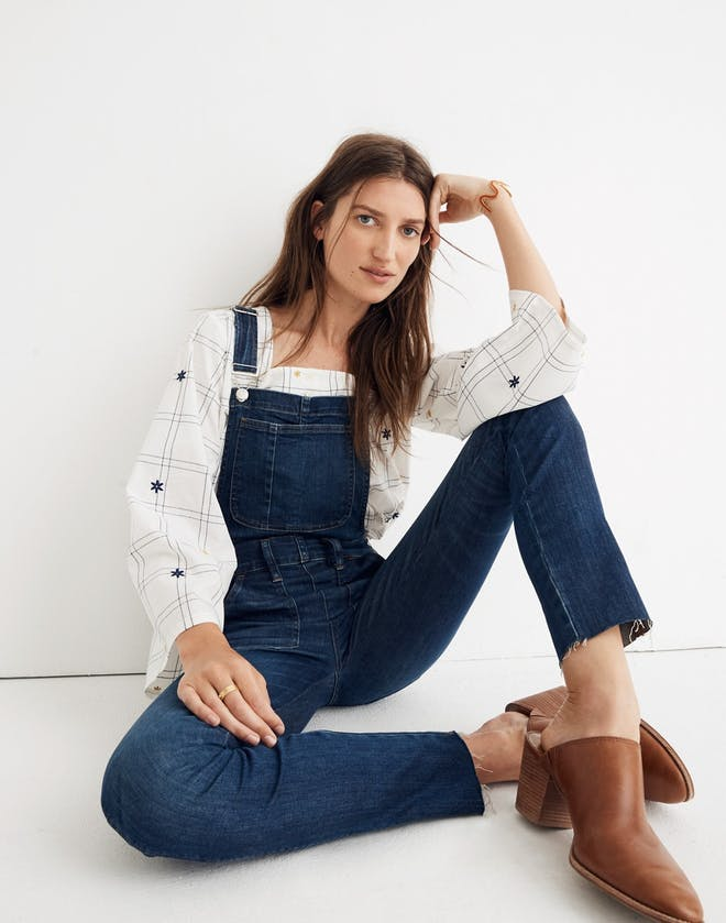 The Skinny Frayed Overalls