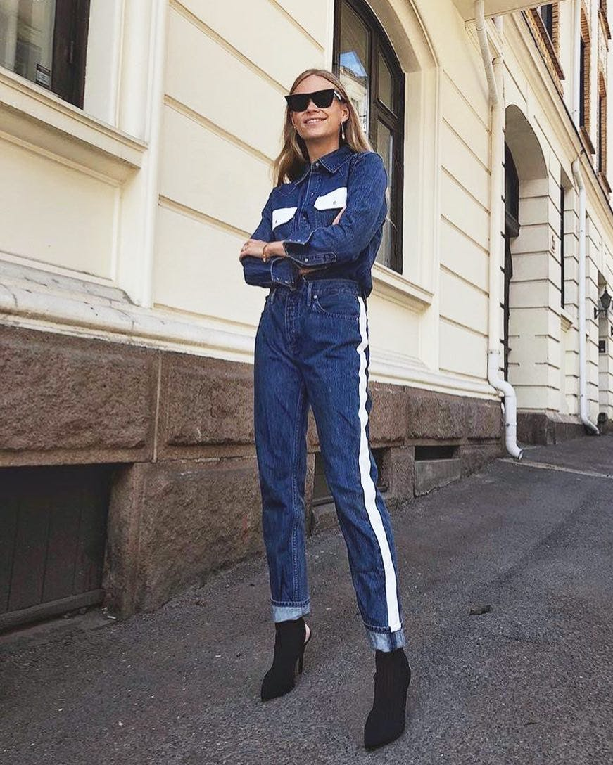 Tine Andrea in Calvin Klein, striped jeans, pintucks