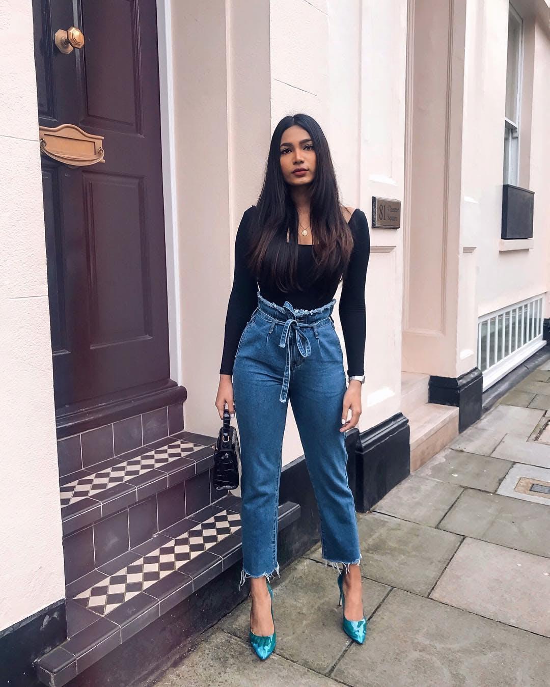 cinch waist jeans, paperbag jeans
