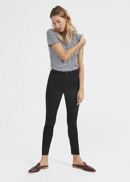 black high rise jeans, black high waist jeans