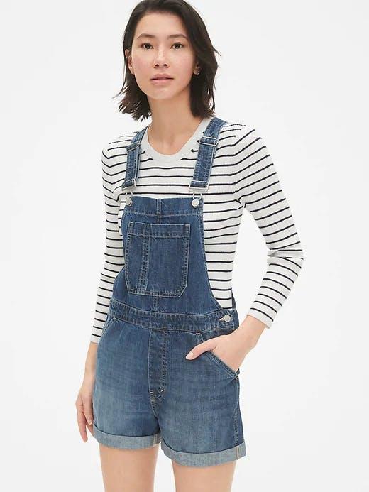 Denim overall shorts