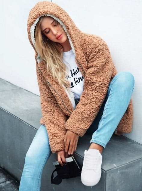 Solid Hooded Teddy Coat