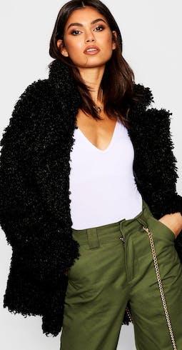 Premium Teddy Faux Fur Collared Coat