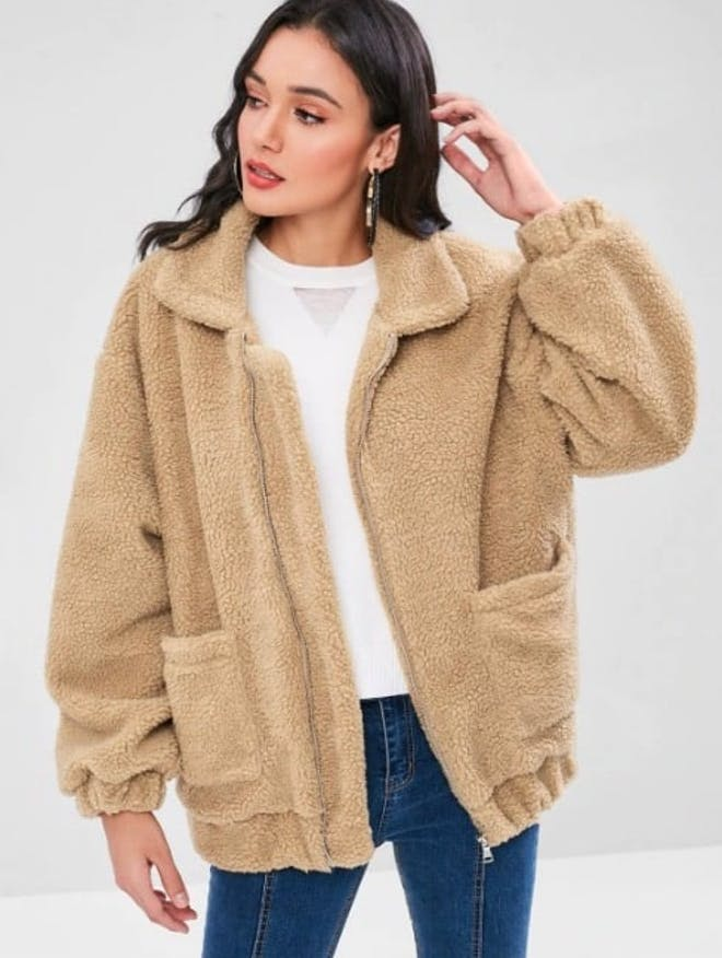 Fluffy Zip Up Winter Teddy Coat